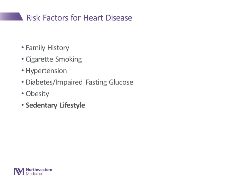 Risk Factors for Heart Disease Family History Cigarette Smoking Hypertension Diabetes/Impaired Fasting Glucose Obesity Sedentary Lifestyle