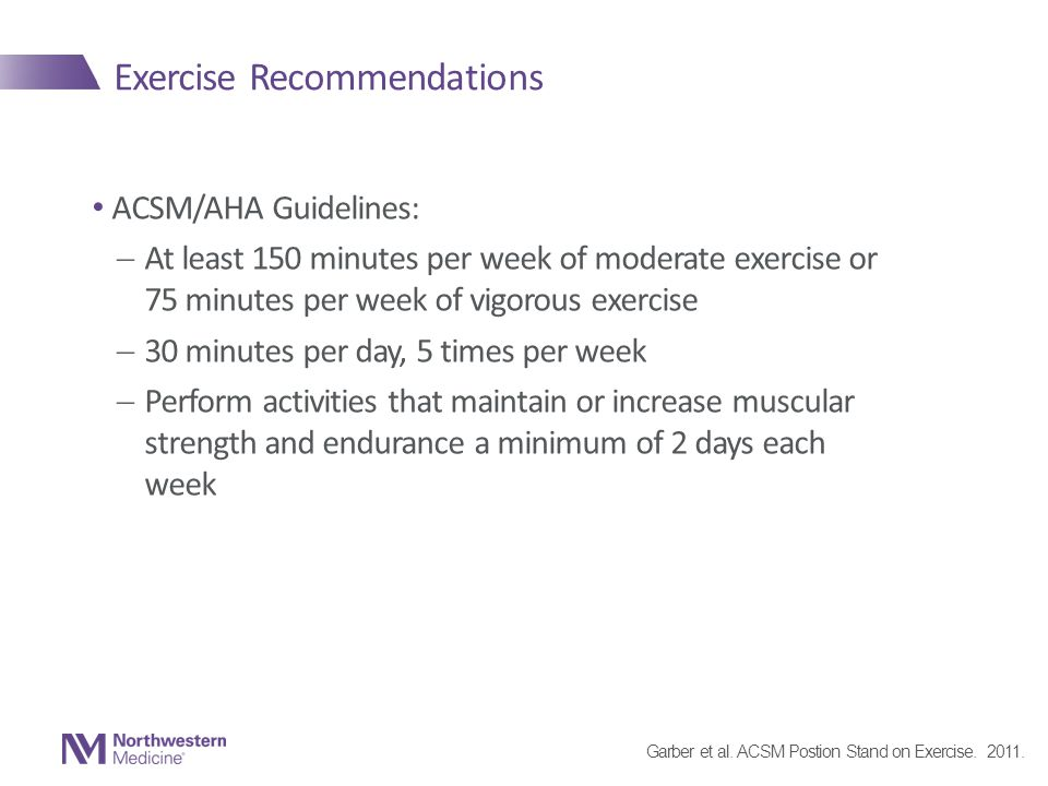 Exercise Recommendations ACSM/AHA Guidelines:  At least 150 minutes per week of moderate exercise or 75 minutes per week of vigorous exercise  30 minutes per day, 5 times per week  Perform activities that maintain or increase muscular strength and endurance a minimum of 2 days each week Garber et al.
