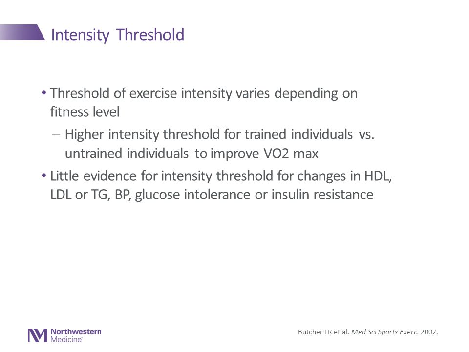Intensity Threshold Threshold of exercise intensity varies depending on fitness level  Higher intensity threshold for trained individuals vs.