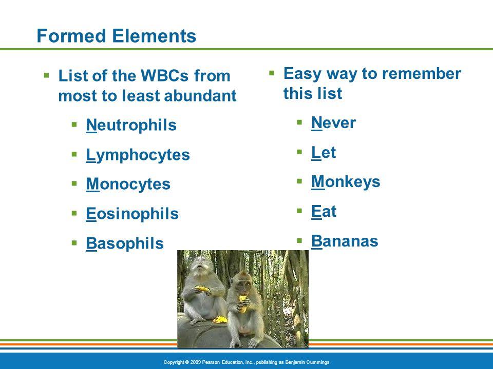 Copyright © 2009 Pearson Education, Inc., publishing as Benjamin Cummings Formed Elements  List of the WBCs from most to least abundant  Neutrophils  Lymphocytes  Monocytes  Eosinophils  Basophils  Easy way to remember this list  Never  Let  Monkeys  Eat  Bananas
