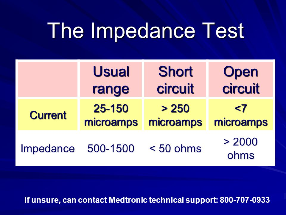 The Impedance Test Usual range Short circuit Open circuit Current 25-150 microamps > 250 microamps <7 microamps Impedance500-1500 < 50 ohms > 2000 ohms If unsure, can contact Medtronic technical support: 800-707-0933