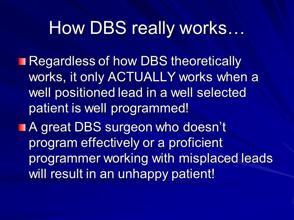 Goals of DBS Programming Suppress/improve symptoms Minimize adverse effects Reduce battery drain