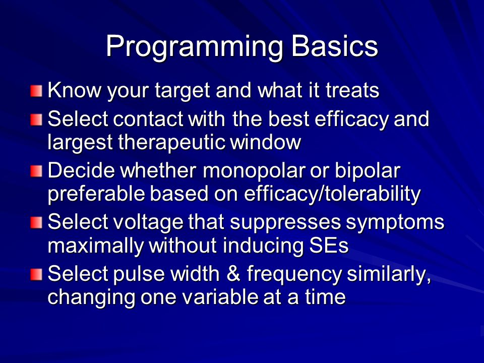 Non-ET Tremor The programming approach is similar to that of ET but the results tend to be less uniform and significantly impacted by non- tremor pathology that may continue to impair ADLs.