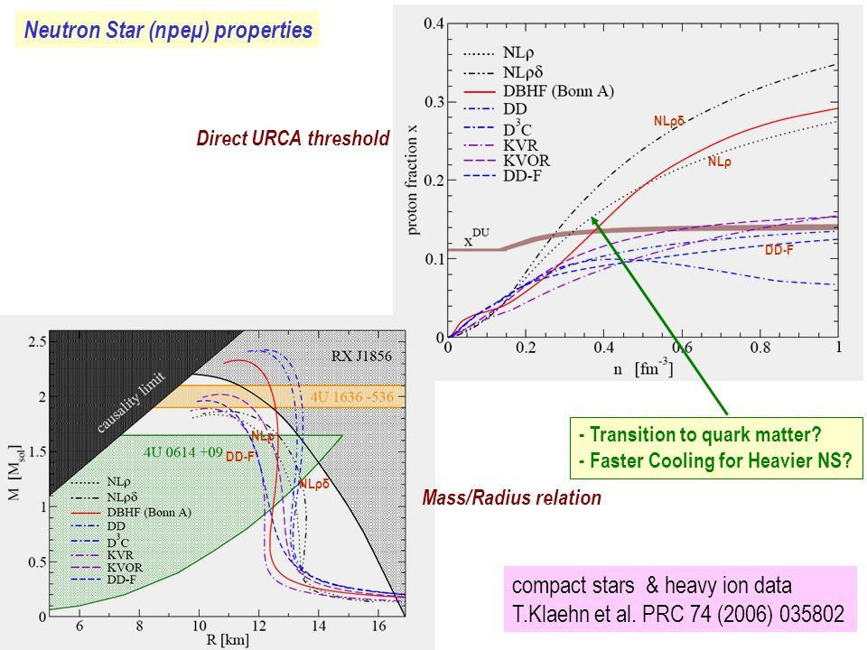 Neutron Star (npeμ) properties Direct URCA threshold Mass/Radius relation NLρ NLρδ NLρ DD-F compact stars & heavy ion data T.Klaehn et al.
