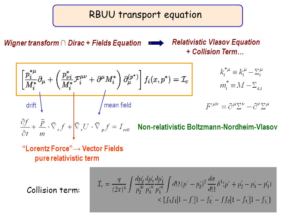 RBUU transport equation Collision term: Wigner transform ∩ Dirac + Fields Equation Relativistic Vlasov Equation + Collision Term… Non-relativistic Boltzmann-Nordheim-Vlasov drift mean field Lorentz Force → Vector Fields pure relativistic term
