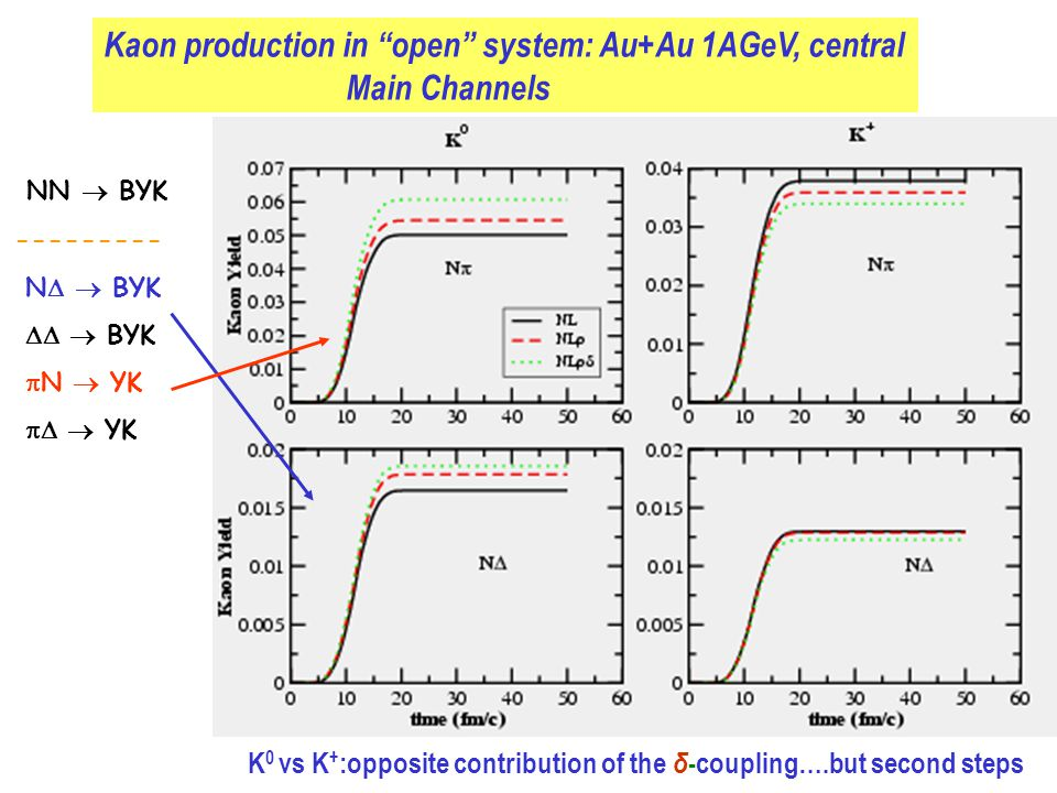 Kaon production in open system: Au+Au 1AGeV, central Main Channels K 0 vs K + :opposite contribution of the δ -coupling….but second steps NN  BYK --------- N   BYK   BYK  N  YK   YK