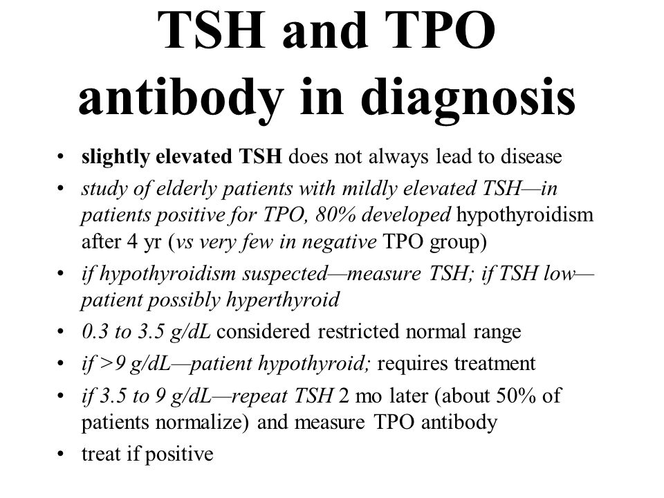 TSH and TPO antibody in diagnosis slightly elevated TSH does not always lead to disease study of elderly patients with mildly elevated TSH—in patients