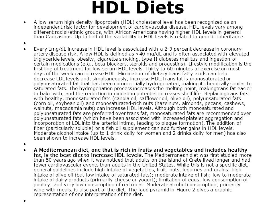 HDL Diets A low-serum high-density lipoprotein (HDL) cholesterol level has been recognized as an independent risk factor for development of cardiovasc