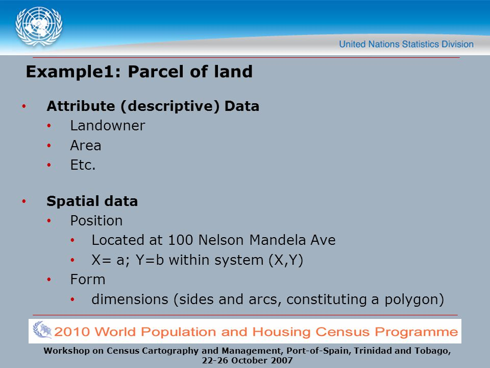 Workshop on Census Cartography and Management, Port-of-Spain, Trinidad and Tobago, 22-26 October 2007 Example1: Parcel of land Attribute (descriptive)