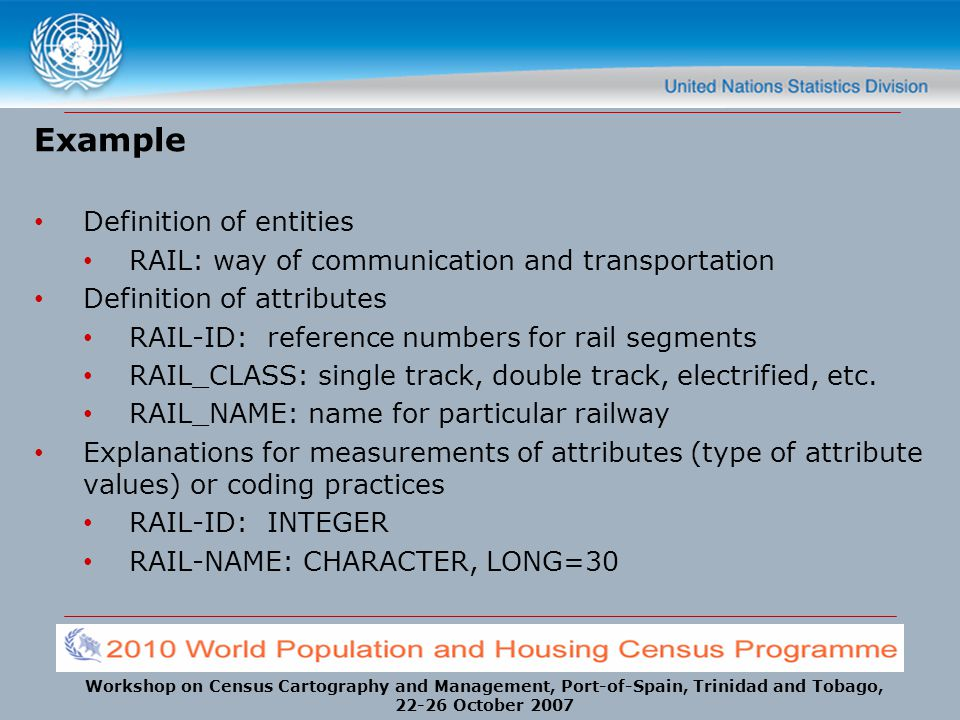 Workshop on Census Cartography and Management, Port-of-Spain, Trinidad and Tobago, 22-26 October 2007 Example Definition of entities RAIL: way of comm