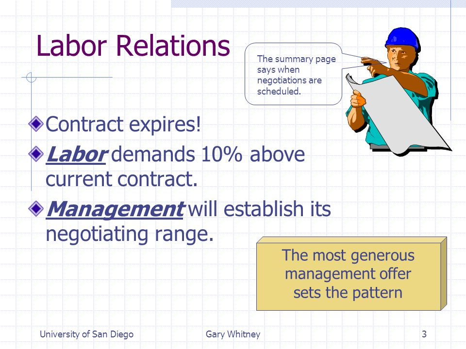University of San DiegoGary Whitney3 Labor Relations Contract expires.
