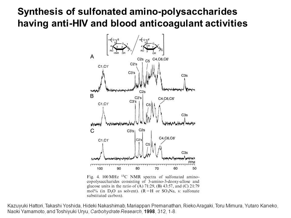 Synthesis of sulfonated amino-polysaccharides having anti-HIV and blood anticoagulant activities Kazuyuki Hattori, Takashi Yoshida, Hideki Nakashimab, Mariappan Premanathan, Rieko Aragaki, Toru Mimura, Yutaro Kaneko, Naoki Yamamoto, and Toshiyuki Uryu, Carbohydrate Research, 1998, 312, 1-8.