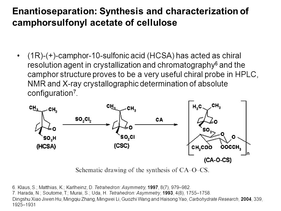 Enantioseparation: Synthesis and characterization of camphorsulfonyl acetate of cellulose Dingshu Xiao Jiwen Hu, Mingqiu Zhang, Mingwei Li, Guozhi Wang and Haisong Yao, Carbohydrate Research, 2004, 339, 1925–1931 (1R)-(+)-camphor-10-sulfonic acid (HCSA) has acted as chiral resolution agent in crystallization and chromatography 6 and the camphor structure proves to be a very useful chiral probe in HPLC, NMR and X-ray crystallographic determination of absolute configuration 7.