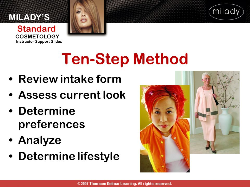 MILADY'S Standard Instructor Support Slides COSMETOLOGY Ten-Step Method Review intake form Assess current look Determine preferences Analyze Determine