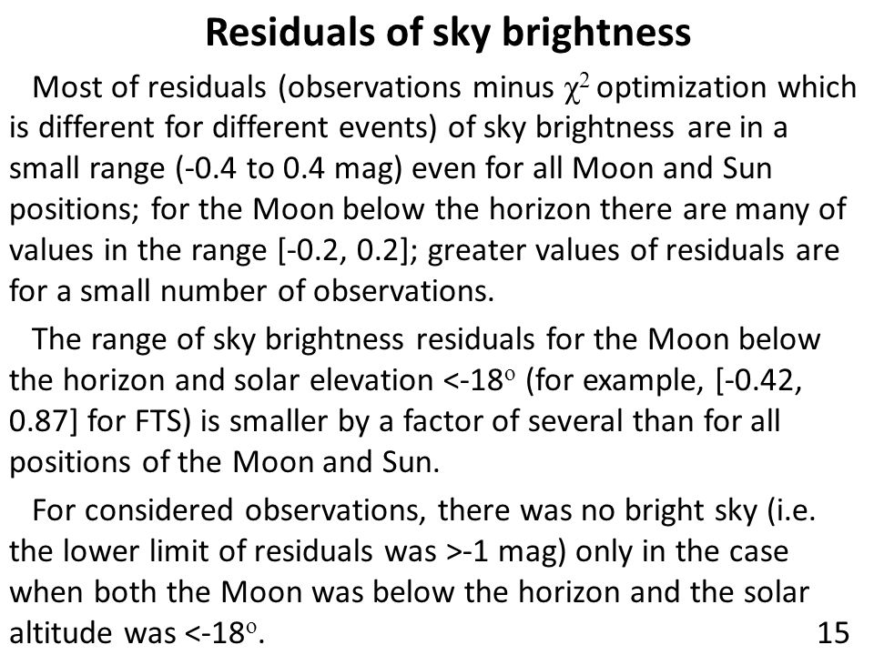 Residuals of sky brightness Most of residuals (observations minus χ 2 optimization which is different for different events) of sky brightness are in a