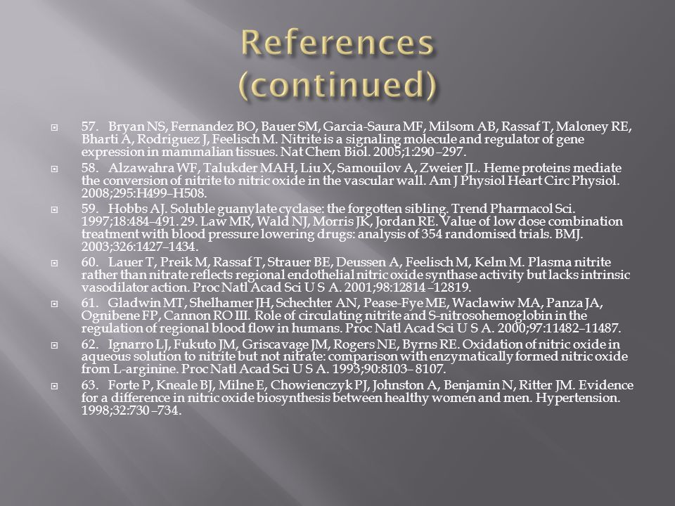  57.Bryan NS, Fernandez BO, Bauer SM, Garcia-Saura MF, Milsom AB, Rassaf T, Maloney RE, Bharti A, Rodriguez J, Feelisch M.