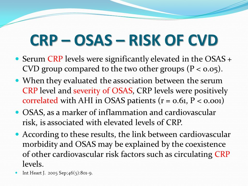 CRP – OSAS – RISK OF CVD Serum CRP levels were significantly elevated in the OSAS + CVD group compared to the two other groups (P < 0.05).