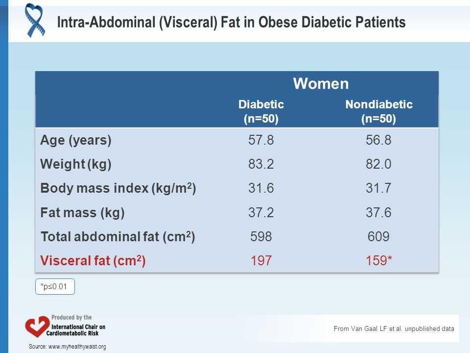 Source: www.myhealthywaist.org Intra-Abdominal (Visceral) Fat in Obese Diabetic Patients From Van Gaal LF et al.