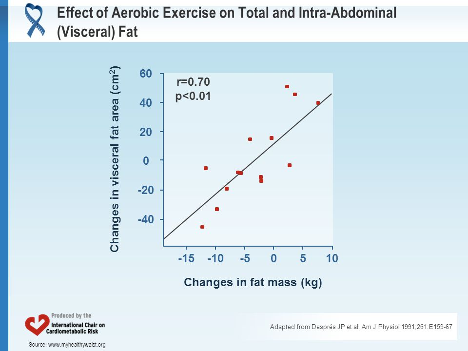 Source: www.myhealthywaist.org Effect of Aerobic Exercise on Total and Intra-Abdominal (Visceral) Fat Adapted from Després JP et al.