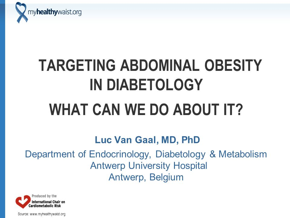 Source: www.myhealthywaist.org TARGETING ABDOMINAL OBESITY IN DIABETOLOGY WHAT CAN WE DO ABOUT IT? Luc Van Gaal, MD, PhD Department of Endocrinology,