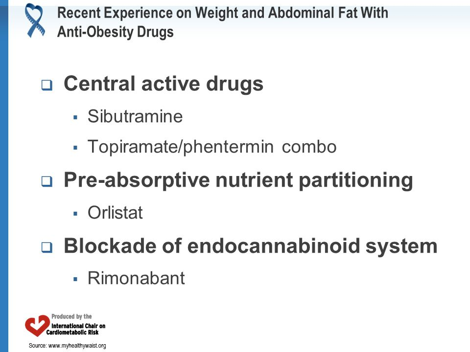 Source: www.myhealthywaist.org Recent Experience on Weight and Abdominal Fat With Anti-Obesity Drugs  Central active drugs  Sibutramine  Topiramate/phentermin combo  Pre-absorptive nutrient partitioning  Orlistat  Blockade of endocannabinoid system  Rimonabant