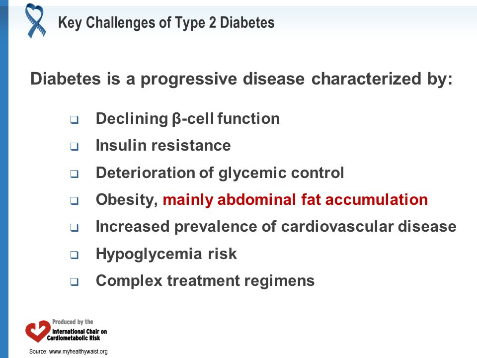Source: www.myhealthywaist.org Key Challenges of Type 2 Diabetes Diabetes is a progressive disease characterized by:  Declining β-cell function  Ins