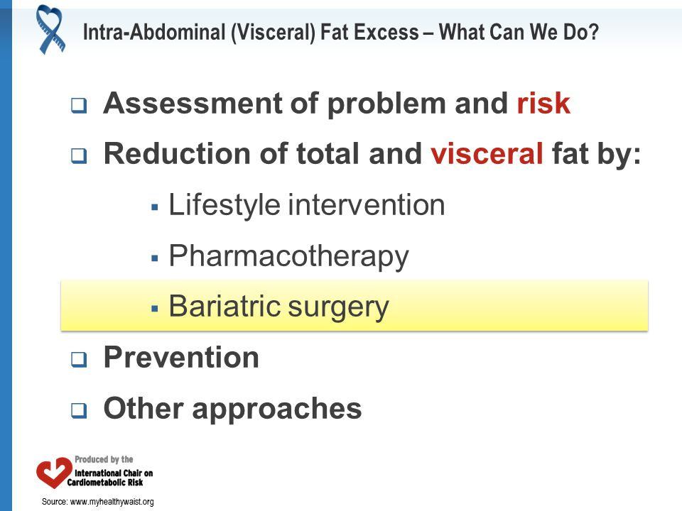 Source: www.myhealthywaist.org Intra-Abdominal (Visceral) Fat Excess – What Can We Do?  Assessment of problem and risk  Reduction of total and visce