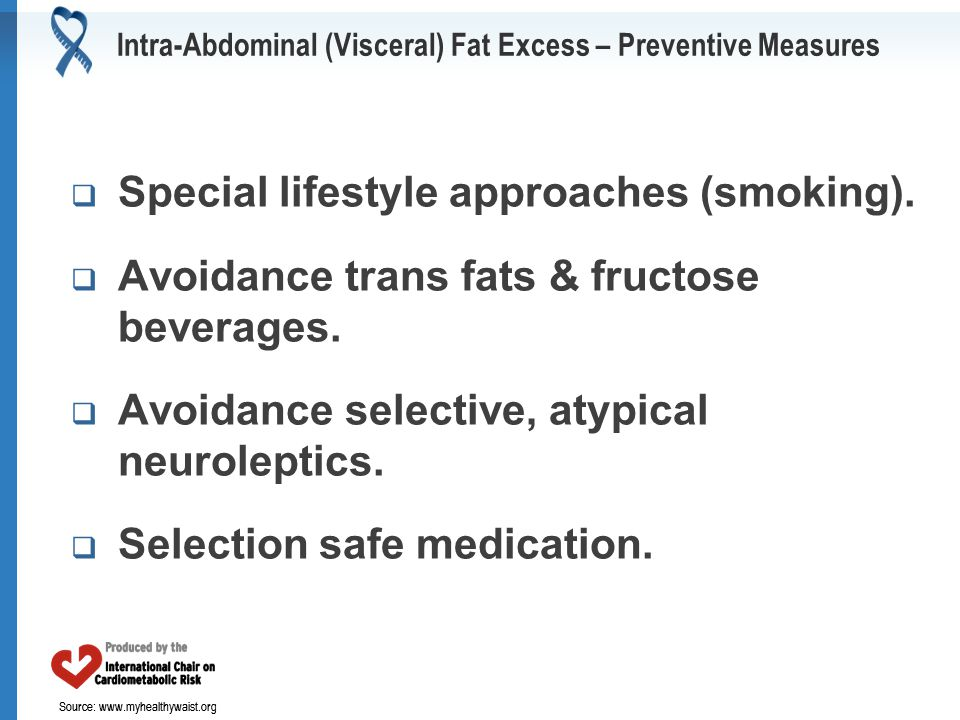 Source: www.myhealthywaist.org Intra-Abdominal (Visceral) Fat Excess – Preventive Measures  Special lifestyle approaches (smoking).  Avoidance trans