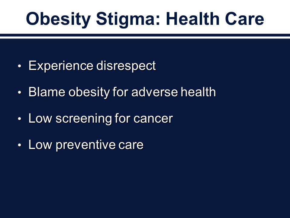 Obesity Stigma: Health Care Experience disrespect Experience disrespect Blame obesity for adverse health Blame obesity for adverse health Low screening for cancer Low screening for cancer Low preventive care Low preventive care