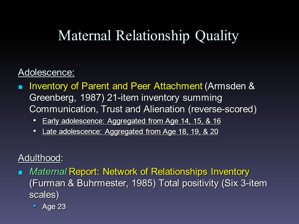 Maternal Relationship Quality Adolescence: Inventory of Parent and Peer Attachment (Armsden & Greenberg, 1987) 21-item inventory summing Communication, Trust and Alienation (reverse-scored) Inventory of Parent and Peer Attachment (Armsden & Greenberg, 1987) 21-item inventory summing Communication, Trust and Alienation (reverse-scored) Early adolescence: Aggregated from Age 14, 15, & 16 Early adolescence: Aggregated from Age 14, 15, & 16 Late adolescence: Aggregated from Age 18, 19, & 20 Late adolescence: Aggregated from Age 18, 19, & 20 Adulthood: Maternal Report: Network of Relationships Inventory (Furman & Buhrmester, 1985) Total positivity (Six 3-item scales) Maternal Report: Network of Relationships Inventory (Furman & Buhrmester, 1985) Total positivity (Six 3-item scales) Age 23 Age 23