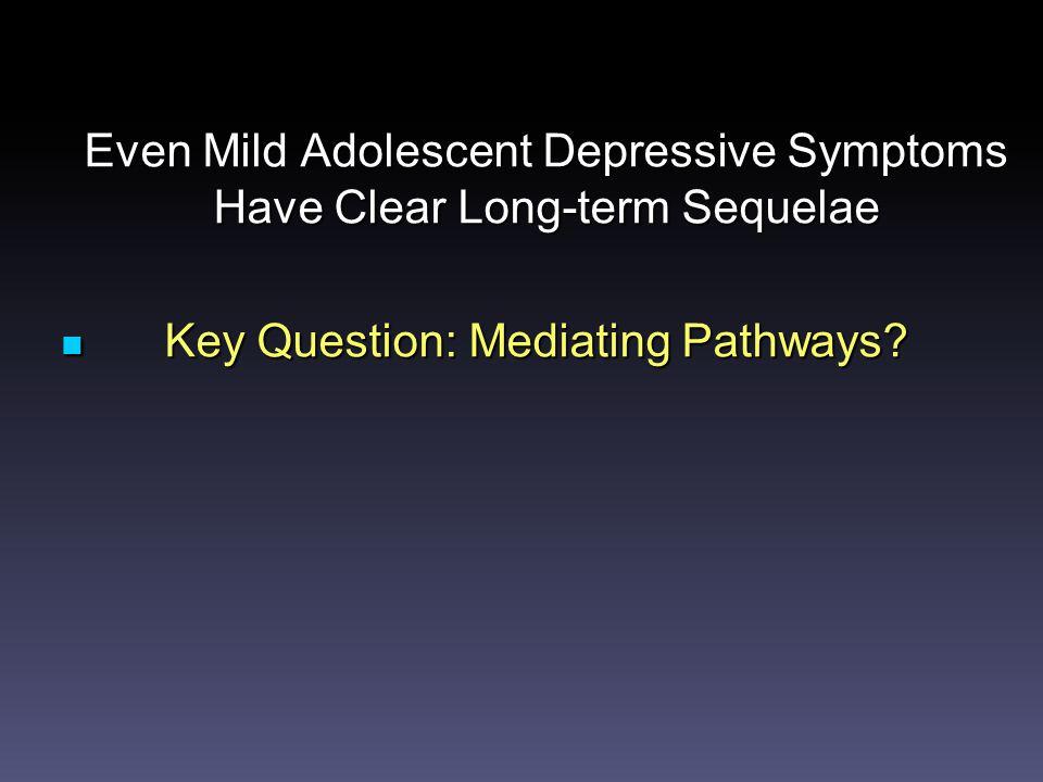 Even Mild Adolescent Depressive Symptoms Have Clear Long-term Sequelae Key Question: Mediating Pathways.