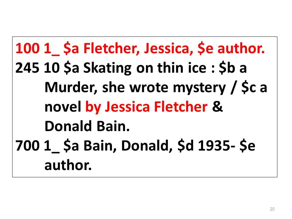 100 1_ $a Fletcher, Jessica, $e author.