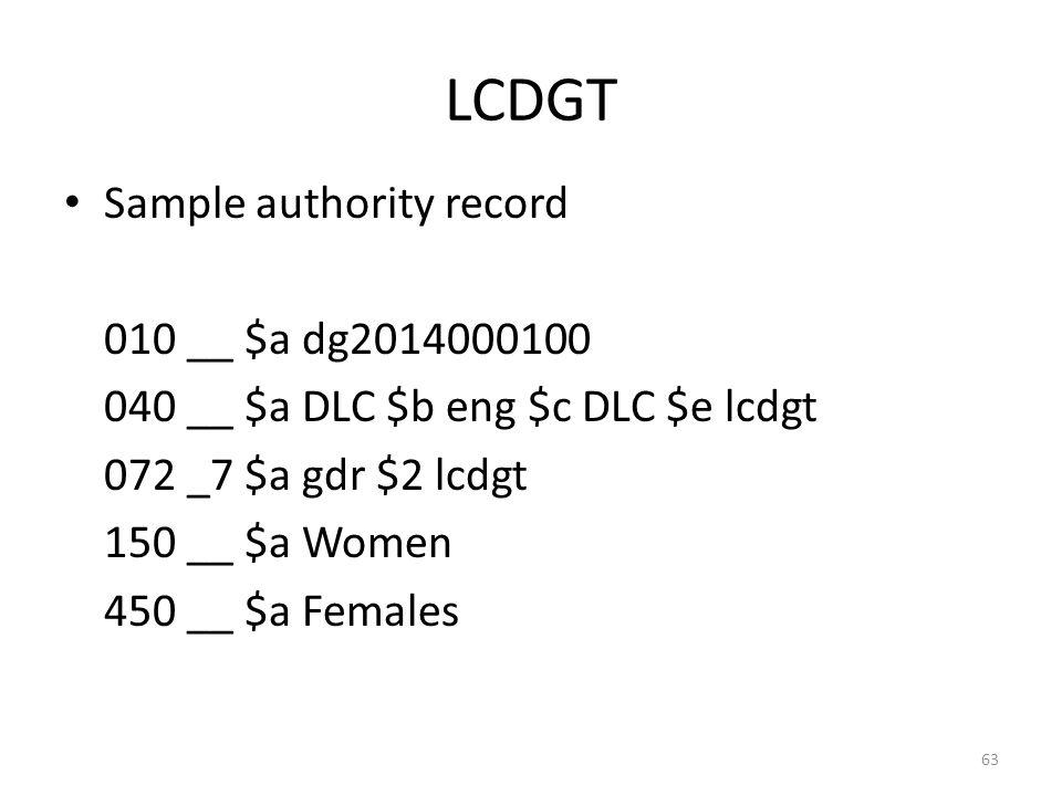 LCDGT Sample authority record 010 __ $a dg2014000100 040 __ $a DLC $b eng $c DLC $e lcdgt 072 _7 $a gdr $2 lcdgt 150 __ $a Women 450 __ $a Females 63