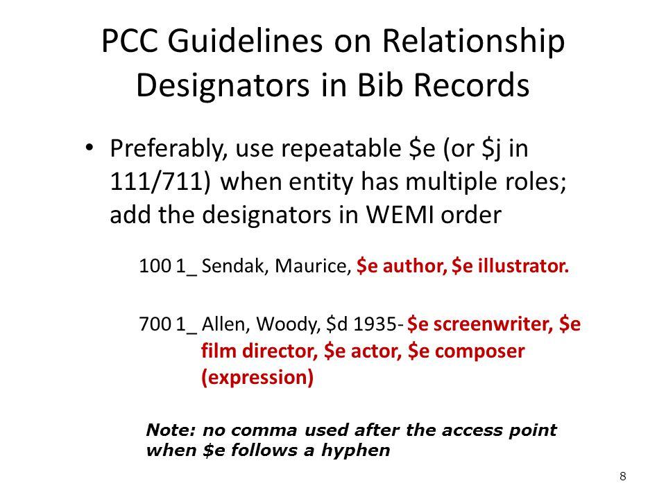 PCC Guidelines on Relationship Designators in Bib Records Preferably, use repeatable $e (or $j in 111/711) when entity has multiple roles; add the designators in WEMI order 100 1_ Sendak, Maurice, $e author, $e illustrator.