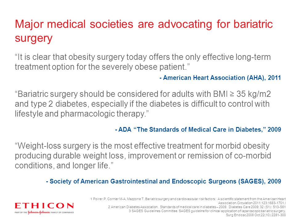 """It is clear that obesity surgery today offers the only effective long-term treatment option for the severely obese patient."" - American Heart Associa"