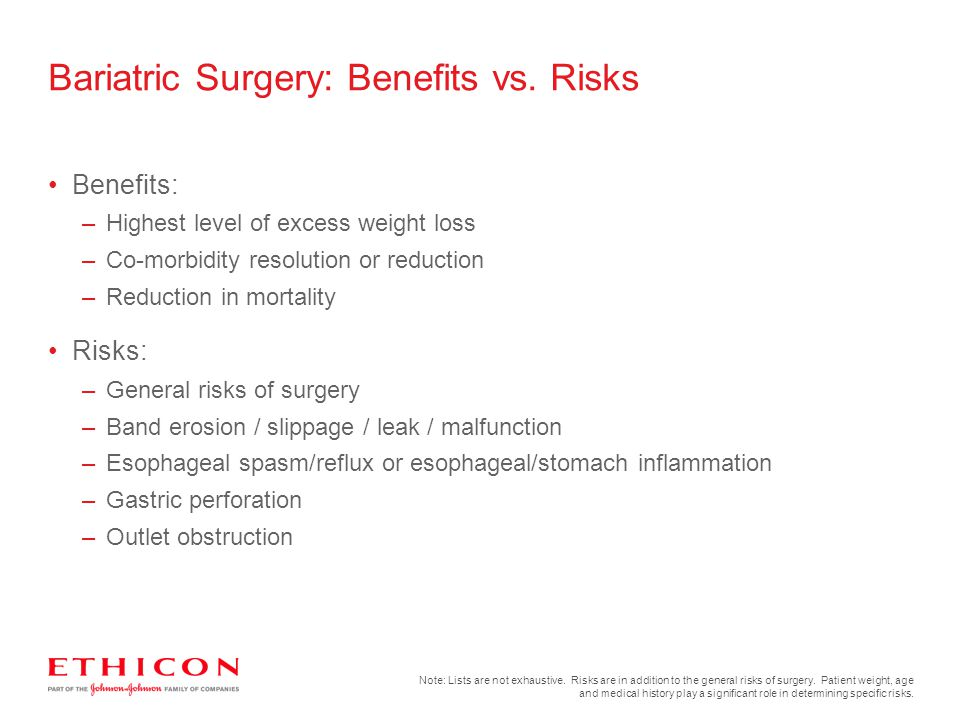 Benefits: –Highest level of excess weight loss –Co-morbidity resolution or reduction –Reduction in mortality Risks: –General risks of surgery –Band er
