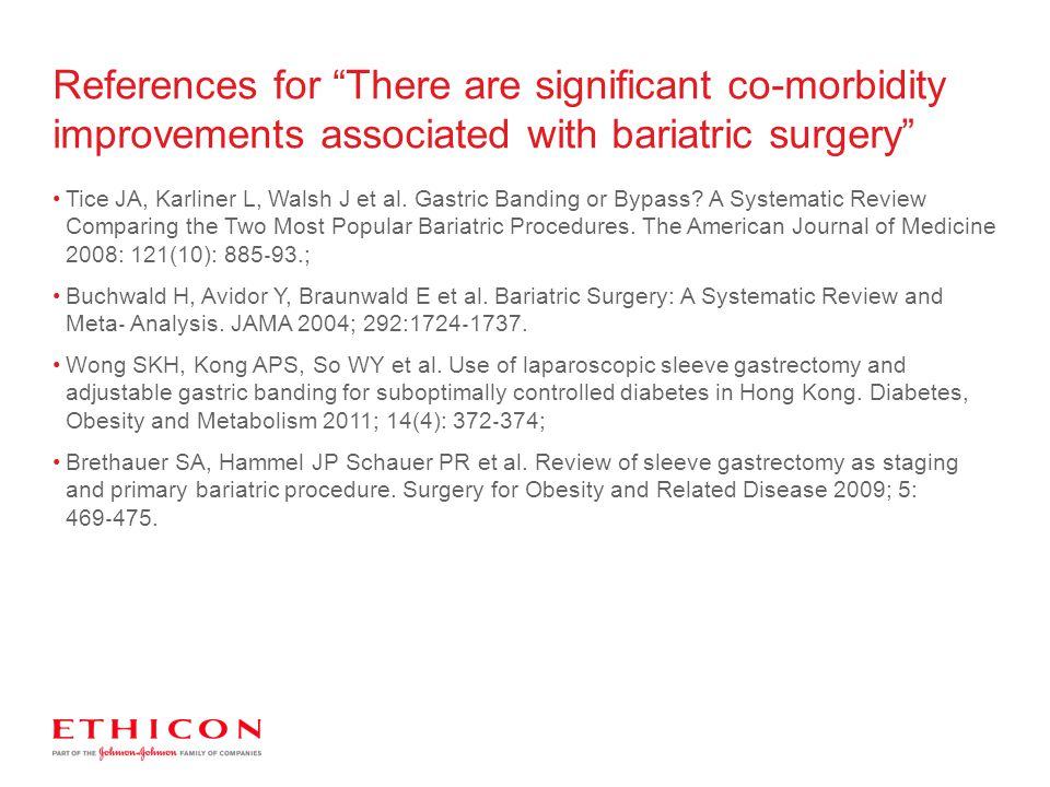 Tice JA, Karliner L, Walsh J et al. Gastric Banding or Bypass? A Systematic Review Comparing the Two Most Popular Bariatric Procedures. The American J