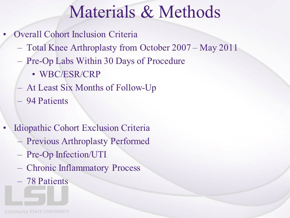 Materials & Methods Overall Cohort Inclusion Criteria –Total Knee Arthroplasty from October 2007 – May 2011 –Pre-Op Labs Within 30 Days of Procedure W