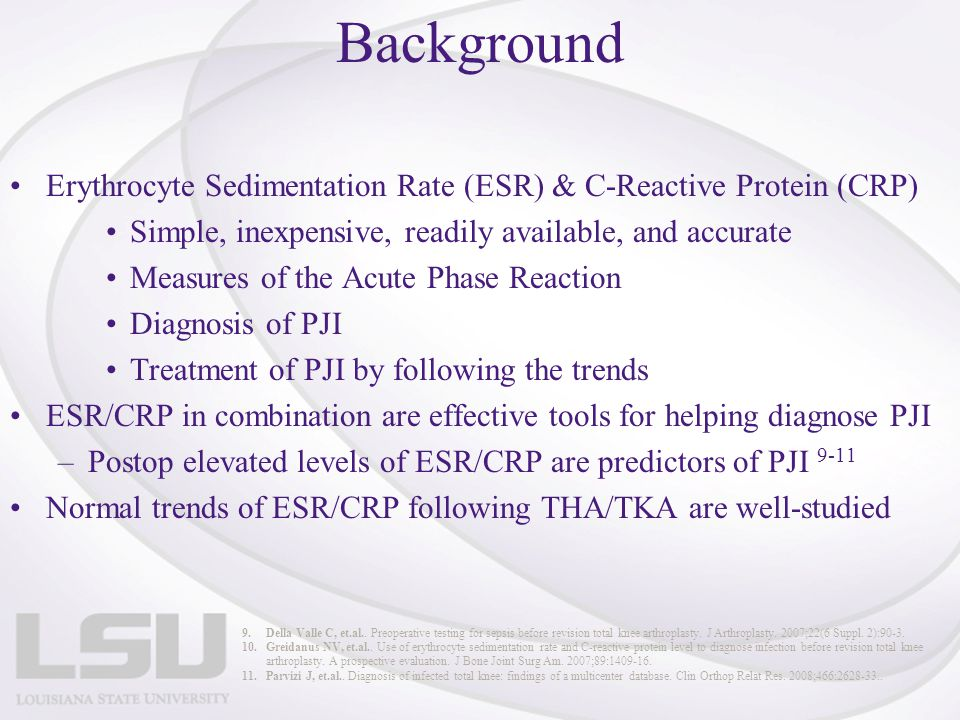 Background Erythrocyte Sedimentation Rate (ESR) & C-Reactive Protein (CRP) Simple, inexpensive, readily available, and accurate Measures of the Acute