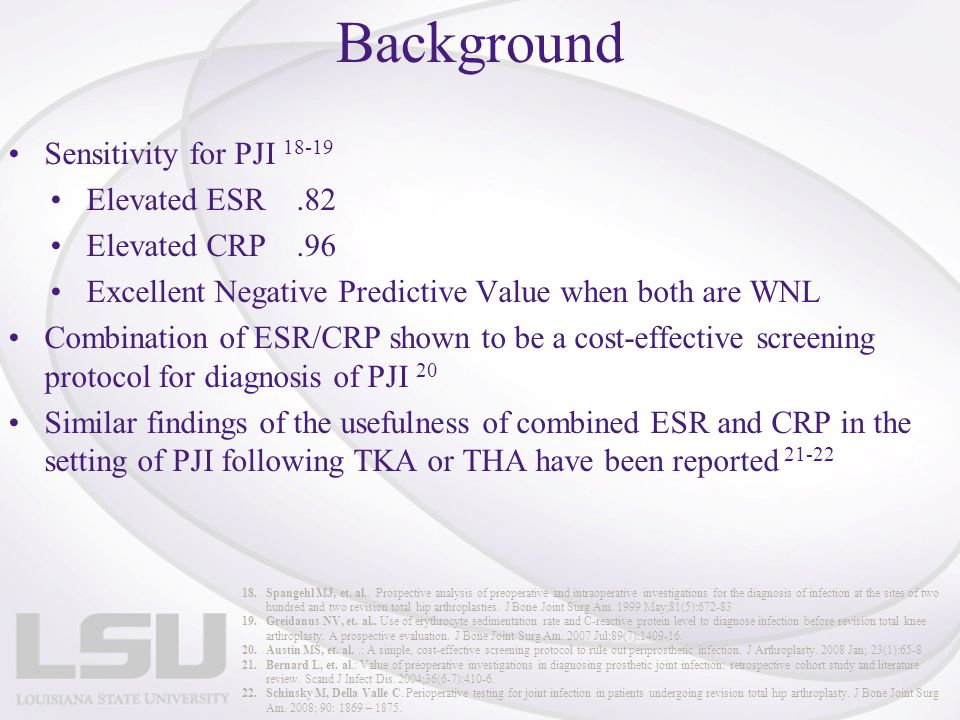 Background Sensitivity for PJI 18-19 Elevated ESR.82 Elevated CRP.96 Excellent Negative Predictive Value when both are WNL Combination of ESR/CRP show