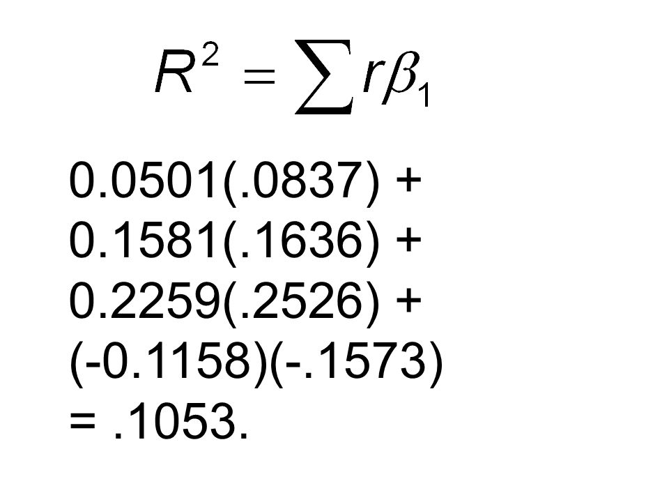 0.0501(.0837) + 0.1581(.1636) + 0.2259(.2526) + (-0.1158)(-.1573) =.1053.