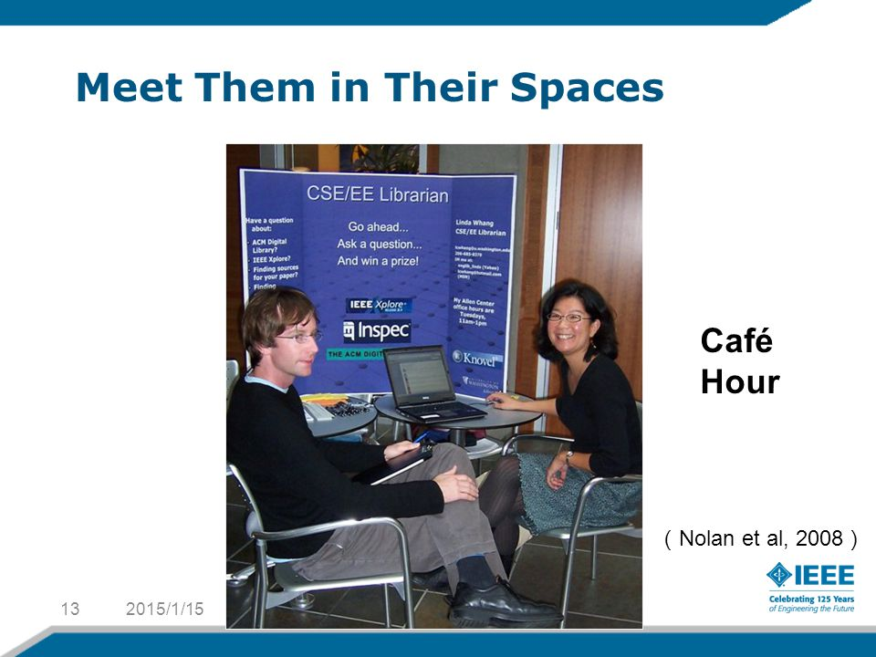 Meet Them in Their Spaces 2015/1/1513 ( Nolan et al, 2008 ) Café Hour