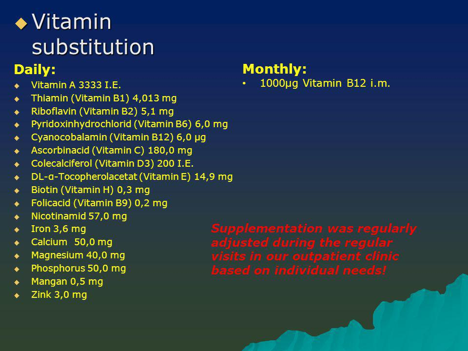  Vitamin substitution Daily:   Vitamin A 3333 I.E.