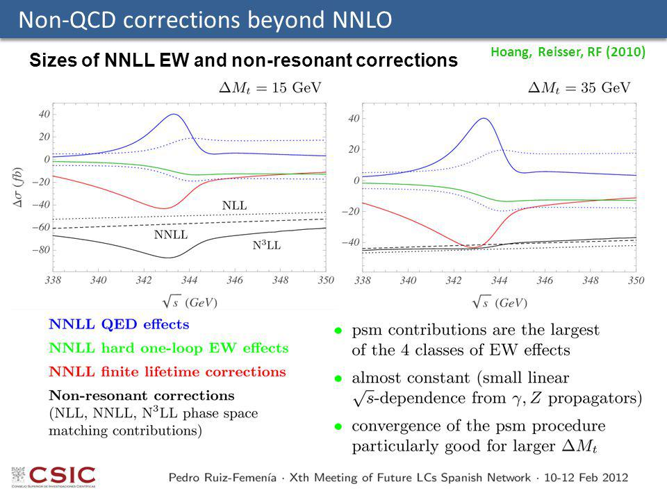 Non-QCD corrections beyond NNLO Sizes of NNLL EW and non-resonant corrections Hoang, Reisser, RF (2010)