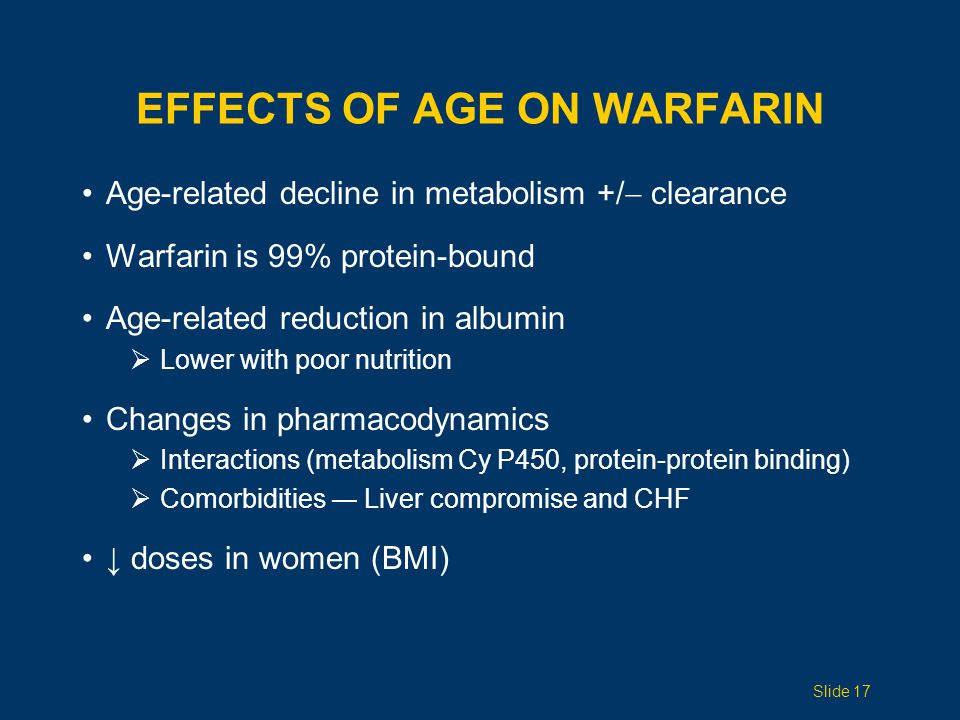 EFFECTS OF AGE ON WARFARIN Age-related decline in metabolism +/  clearance Warfarin is 99% protein-bound Age-related reduction in albumin  Lower wit