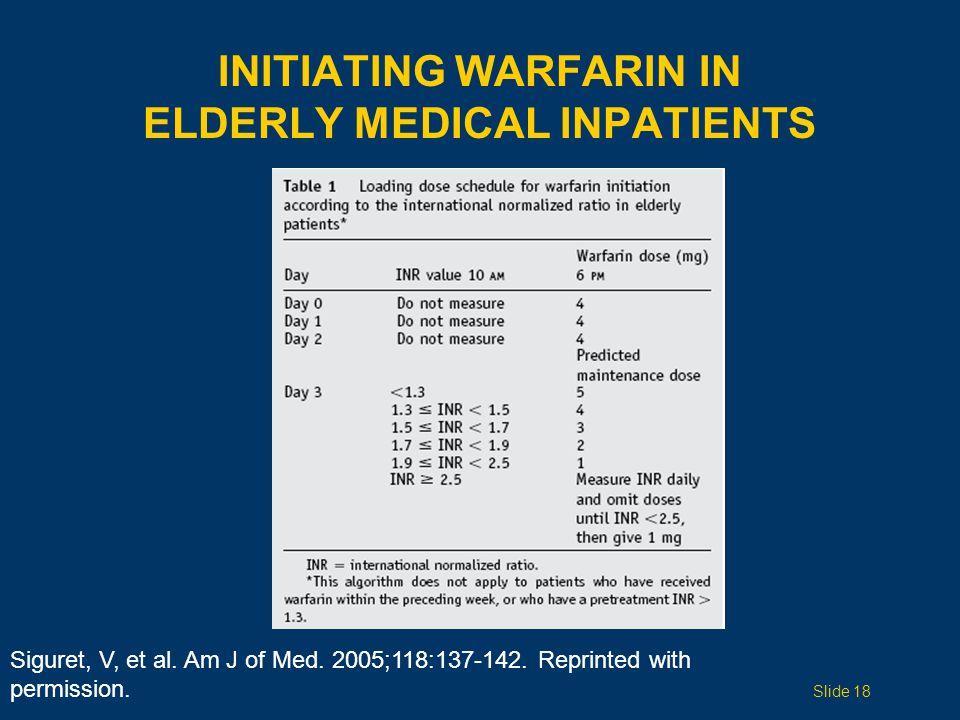 Siguret, V, et al. Am J of Med. 2005;118:137-142.
