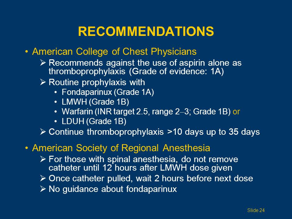 RECOMMENDATIONS American College of Chest Physicians  Recommends against the use of aspirin alone as thromboprophylaxis (Grade of evidence: 1A)  Rou