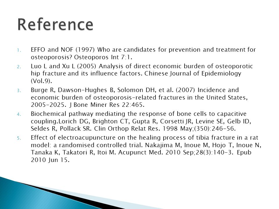 1. EFFO and NOF (1997) Who are candidates for prevention and treatment for osteoporosis.