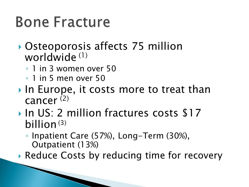  Osteoporosis affects 75 million worldwide (1) ◦ 1 in 3 women over 50 ◦ 1 in 5 men over 50  In Europe, it costs more to treat than cancer (2)  In US: 2 million fractures costs $17 billion (3) ◦ Inpatient Care (57%), Long-Term (30%), Outpatient (13%)  Reduce Costs by reducing time for recovery