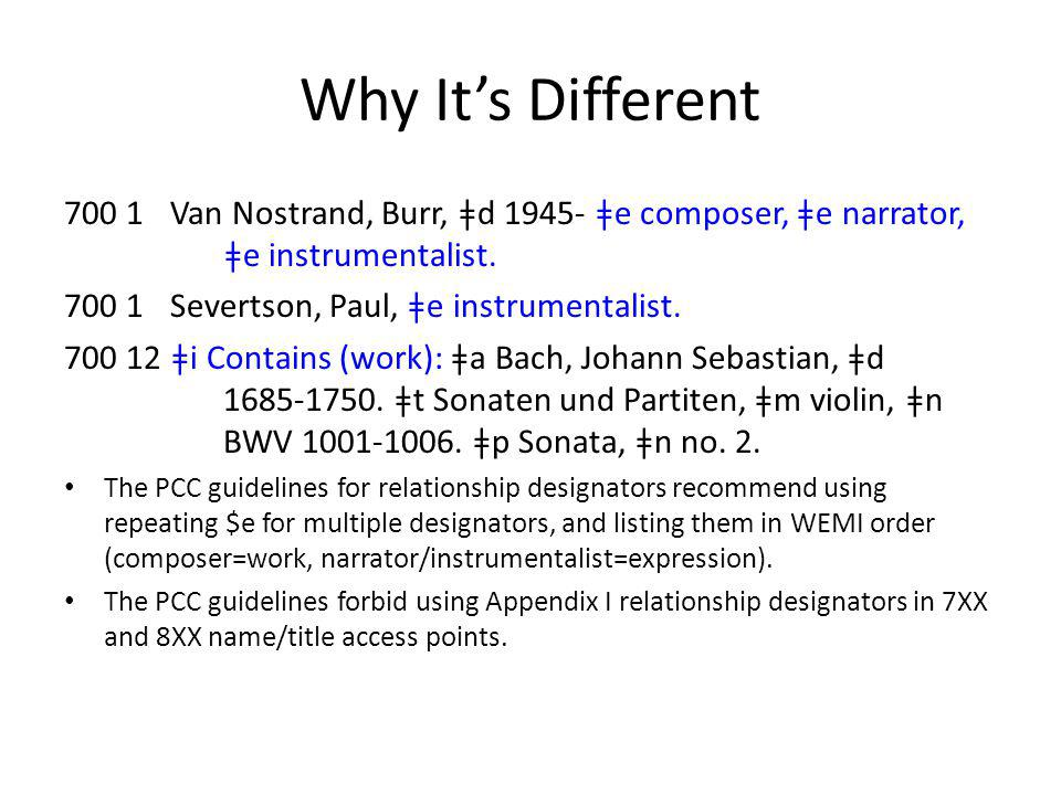 Why It's Different 700 1 Van Nostrand, Burr, ǂd 1945- ǂe composer, ǂe narrator, ǂe instrumentalist.